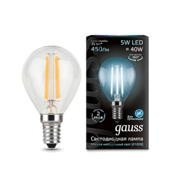 Лампа Gauss LED Black Filament Р45 E14 5W 4100K