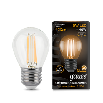 Лампа Gauss LED Black Filament G45 E27 5W 2700K